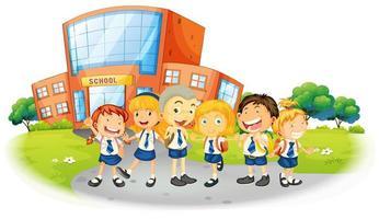 grupo de crianças em uniformes escolares vetor