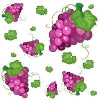 padrão de fundo sem costura com uvas roxas vetor