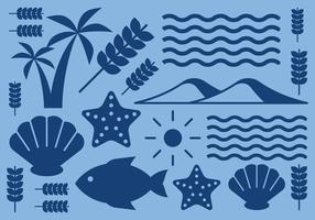 Ícones da natureza da praia vetor