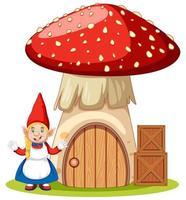 gnomos em pé ao lado da casa de cogumelos vetor