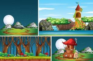 quatro cenas diferentes de natureza e fantasia vetor
