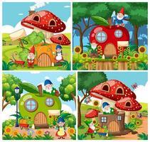 conjunto de casas isoladas de conto de fadas de gnomos vetor