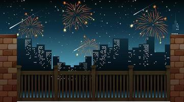 paisagem urbana com a celebração de fogos de artifício vista da ponte vetor