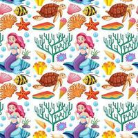sereia e animais marinhos vetor