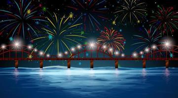 cena do rio com fogos de artifício comemorativos vetor