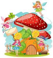 contos de fadas segurando uma casa de flores e cogumelos vetor
