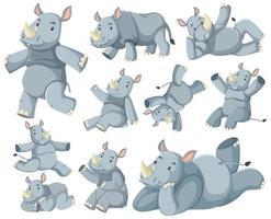 grupo de personagem de desenho animado de rinoceronte vetor