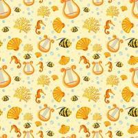 desenho de animal marinho fada em fundo amarelo vetor