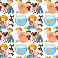 fundo transparente com crianças e animais de estimação vetor