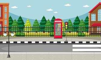 cena do lado da rua com cena da cabine telefônica vermelha vetor