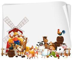 papel em branco com moinho de vento e conjunto de fazenda de animais