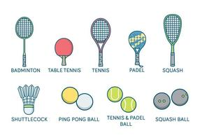 Raquete de esportes e vetor de bolas