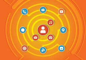 Rede de redes sociais vetor
