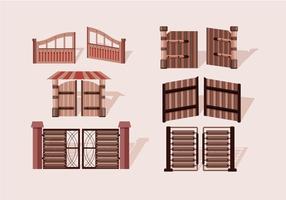 Vetor de madeira de porta aberta