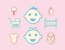 Conjunto de ícones de bebê mini vetor