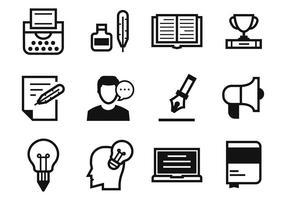 Ícones de escritores livres e ícones de narração vetor