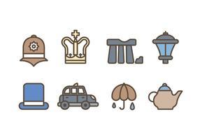 Símbolos da Grã-Bretanha Kingdom Icons vetor