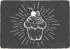 Fundo de vetor de muffin desenhado mão