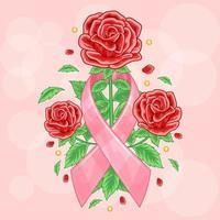 ilustração de rosas vermelhas para a conscientização do câncer de mama vetor