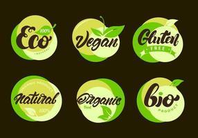 conjunto de rótulos ecológicos com letras vetor