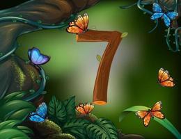 número sete com 7 borboletas no jardim vetor