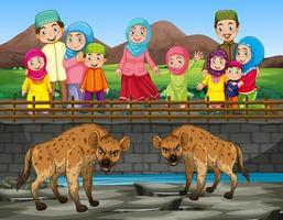 cena com hiena e pessoas no zoológico vetor