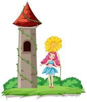 fada segurando flores e torre do castelo vetor