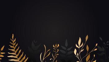 flor dourada em fundo preto folha de ouro vetor