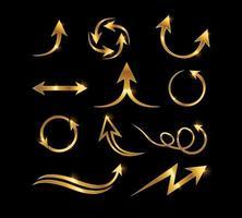 sinal de vetor de seta de ouro
