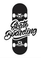 logotipo de skate preto e branco para camiseta vetor