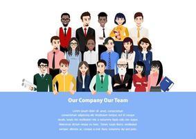 personagem de desenho animado com conceito de trabalho em equipe vetor