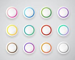conjunto de botões redondos de círculos vetor