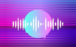 onda de música eletrônica cyberpunk círculo vetor