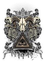 crânio de cabra com esqueletos e olho da providência vetor