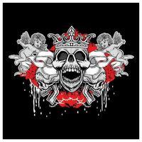 caveira grunge com desenho de coroa e anjos vetor