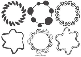 Coleção de formas de quadro desenhado mão desordenada vetor