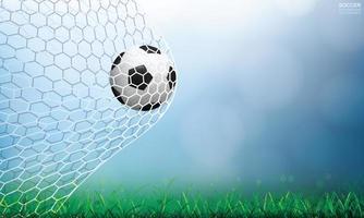 futebol ou futebol pela rede com grama e bokeh vetor