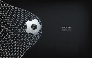 futebol ou futebol voando para cima na rede vetor