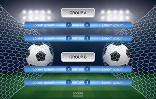 cronograma de jogo da copa de futebol com fundo do estádio vetor