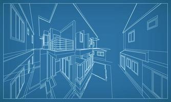 Renderização em perspectiva 3D da estrutura de arame do edifício vetor