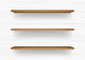 prateleiras de madeira na parede de madeira branca com sombras suaves