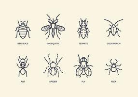 Ícones gratuitos de pragas e insetos vetor