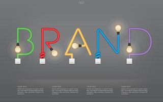 texto colorido da marca feito de lâmpadas e interruptores vetor
