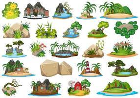 conjunto de elementos da ilha natural vetor