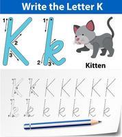 letra k, traçando planilha do alfabeto vetor