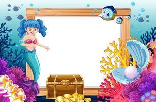 Tema sereia e animal marinho com banner em branco vetor
