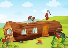 formigas e casa de madeira vetor