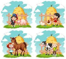 conjunto de crianças e animais de fazenda felizes