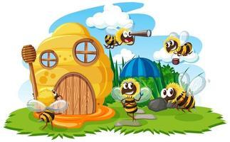 casa de favo de mel de desenho animado com abelhas fofas vetor