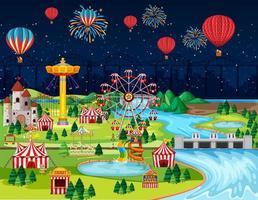 festival de parque de diversões temático à noite vetor